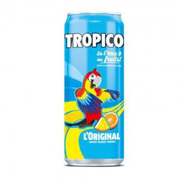 Canette aluminium boisson tropico exotique 33 cl slim