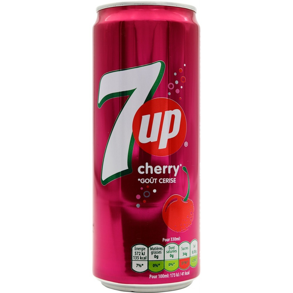 Canette alu seven up cherry ( cerise ) 33 cl